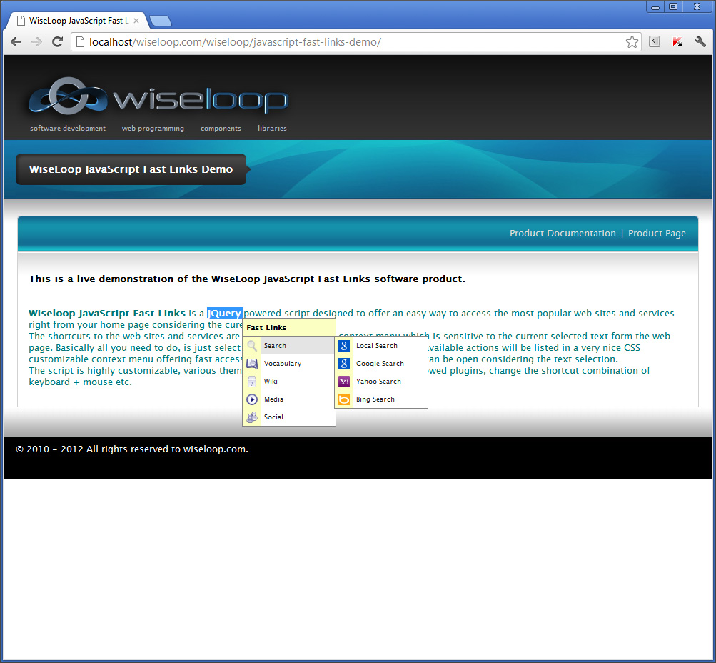 WiseLoop Fast Links Search plugins: local (Google powered), Google, Yahoo, Bing